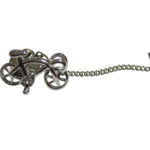 Silver Toned Racing Bicycle Tie Tack